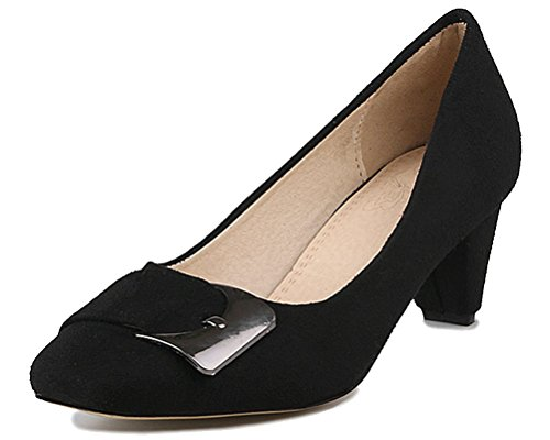 HiEase-Womens-Elegant-Buckle-Square-Toe-OL-Work-Shoes-55-cm-Mid-Block-Heels-Pumps-Shoes-Size-4-12-0