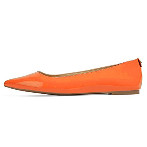 UMEXI-Classic-Pointed-Toe-Ballet-Flat-Slip-On-Patent-Leather-Shoes-For-Women-Orange-Size-9-0