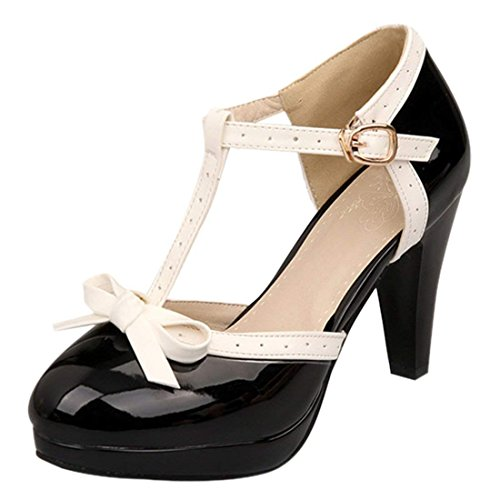 Vitalo-Womens-High-Heel-Platform-Pumps-with-Bows-Vintage-T-Bar-Court-Shoes-0