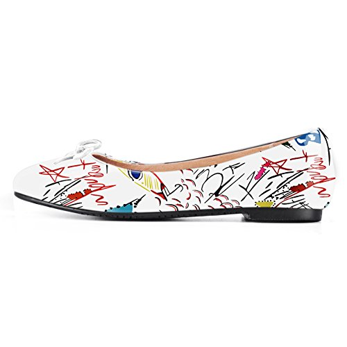 onlymaker-Women-Round-Toe-Ballet-Flats-with-Bowknot-Slip-On-Classic-Dress-Shoes-White-Graffiti-7-0