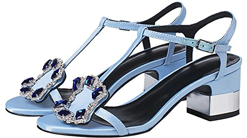 Calaier-Womens-Calxdg-Peep-Toe-6CM-SyntheticBlock-Heel-Buckle-Sandals-Shoes-Blue-95-US-0