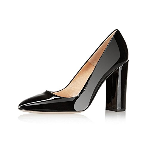 Modemoven-Womens-Black-Sexy-Patent-Leather-Round-Toe-Block-Heels-Pumps-Gorgeous-Evening-Party-Stiletto-Shoes-11-M-US-0