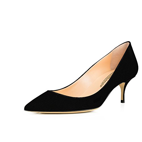Modemoven-Womens-Black-Suede-with-Red-Sole-Patent-Leather-Pointed-Toe-Kitten-Heels-Gorgeous-Pumps-Evening-Stiletto-Shoes-55CM-105-M-US-0