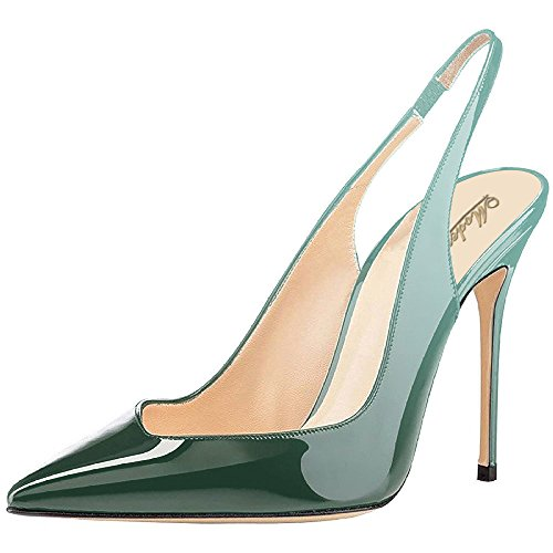 Modemoven-Womens-Emerald-Patent-Leather-PumpsPoint-Toe-HeelsSlingback-PumpsEvening-ShoesCute-Stilettos-75-M-US-0