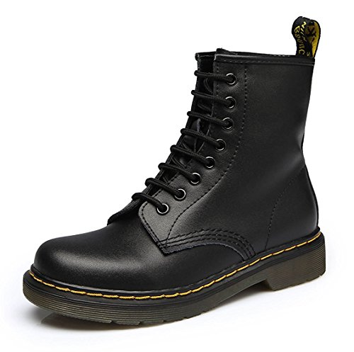 Modemoven-Womens-Round-Toe-Lase-up-Ankle-Boots-Ladies-Leather-Combat-Booties-Fashion-Martens-Boots-Black-US7-0
