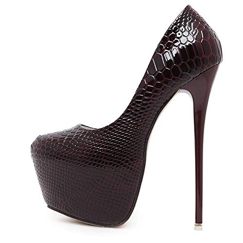 Rngtaqubeic-New-Snakeskin-Pumps-16-cm-high-Club-high-Heels-Sexy-high-Heeled-Shoes-Big-Size-40-0