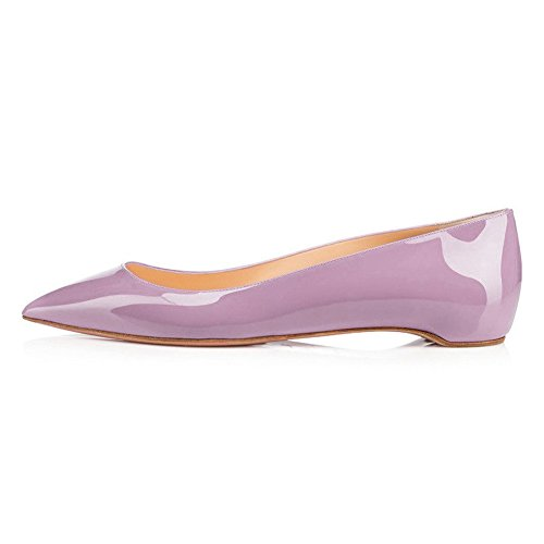 UMEXI-Classic-Pointed-Toe-Ballet-Flat-Slip-On-Patent-Leather-Low-Heel-Shoes-for-Women-Light-Purple-Size-5-0