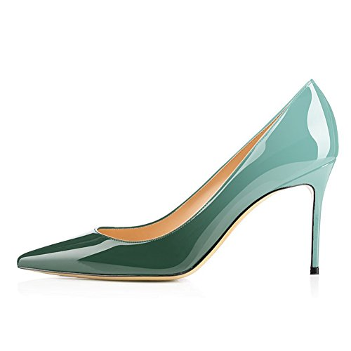 UMEXI-Pointed-Toe-35-inch-Stilettos-Slip-On-Party-High-Heels-Wedding-Dress-Pumps-Shoes-Gradient-Green-Size-13-0