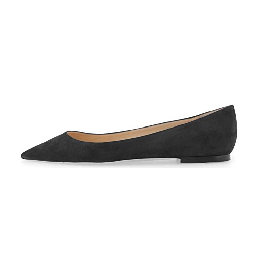 UMEXI-Pointed-Toe-Classic-Ballet-Flats-Suede-Slip-On-Big-Size-Walking-Shoes-for-Women-Black-Size-9-0