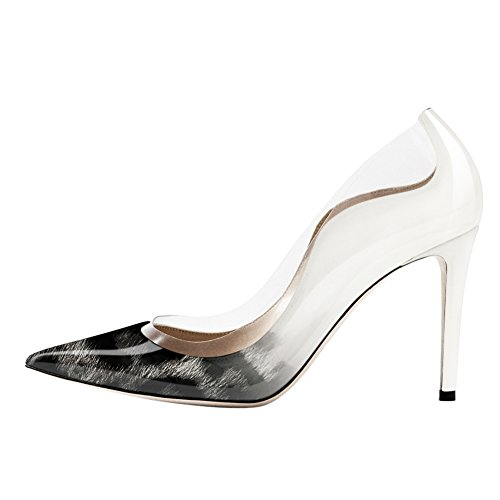 UMEXI-Pointed-Toe-Transparent-Split-Joint-Patent-Leather-High-Heels-Stiletto-Pumps-Black-Leopard-to-White-Size-8-0