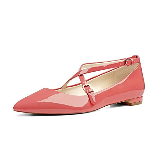 UMEXI-Pointede-Toe-Criss-Cross-Strap-Classic-Ballet-Flats-Slip-On-Patent-Leather-Walking-Shoes-for-Women-Pink-Size-10-0