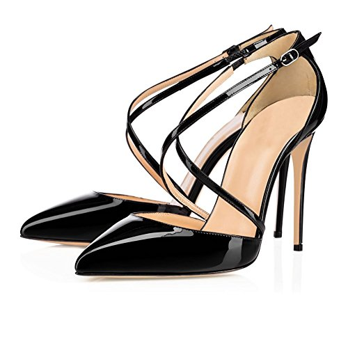 UMEXI-Women-Ankle-Cross-Strap-High-Heels-Pointed-Toe-Stiletto-Dress-Pumps-Black-Size-5-0