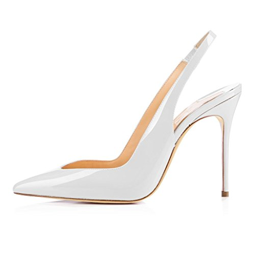 UMEXI-Women-Stiletto-High-Heels-Slingback-Sandals-Pointed-Toe-Dress-Shoes-White-Size-11-0