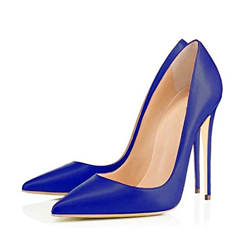 UMEXI-Women-Textured-Glossy-Pointed-Toe-Daily-Dalking-Pumps-Heeled-Stilettos-Matte-Dress-Shoes-Blue-Size-9-0