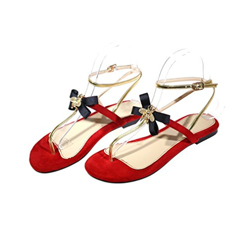 Vaneel-Womens-Valxrt-Round-Toe-15CM-LeatherFlat-Pull-On-Sandals-Shoes-Red-65-BM-US-0