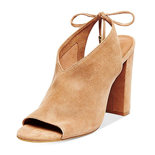 Women-Faux-Suede-Peep-Toe-High-Heels-Lace-up-Back-Tie-Stacked-Chunky-Heel-Sandals-Beige-Size-7-0