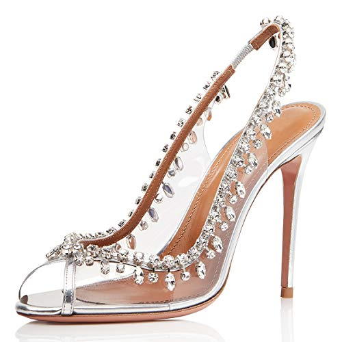 XYD-Women-Slingback-High-Heels-Sandals-Peep-Toe-Transparent-Slip-On-Wedding-Dress-Shoes-with-Rhinestones-0