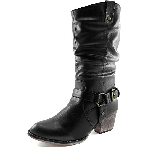 DailyShoes-Womens-Slouch-Mid-Calf-Ankle-Strap-Buckle-Western-01-Style-Cowboy-Boots-0