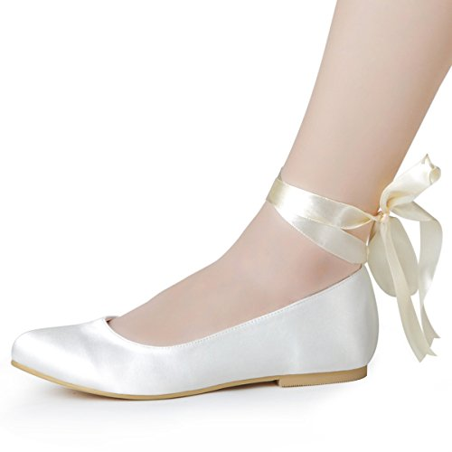 ElegantPark-Women-Comfort-Flats-Closed-Toe-Ribbon-Tie-Satin-Wedding-Bridal-Shoes-0