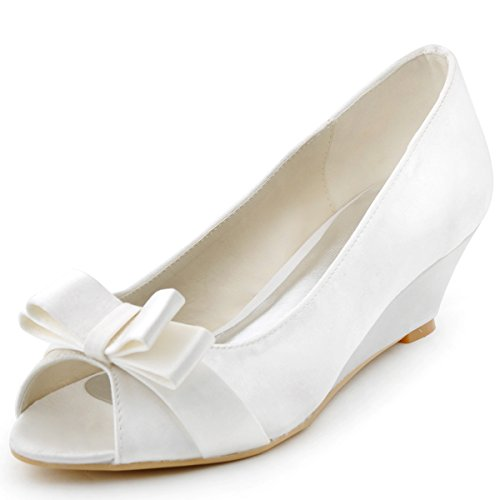 ElegantPark-Women-Peep-Toe-Pumps-Bows-Mid-Heel-Wedges-Satin-Wedding-Bridal-Shoes-0