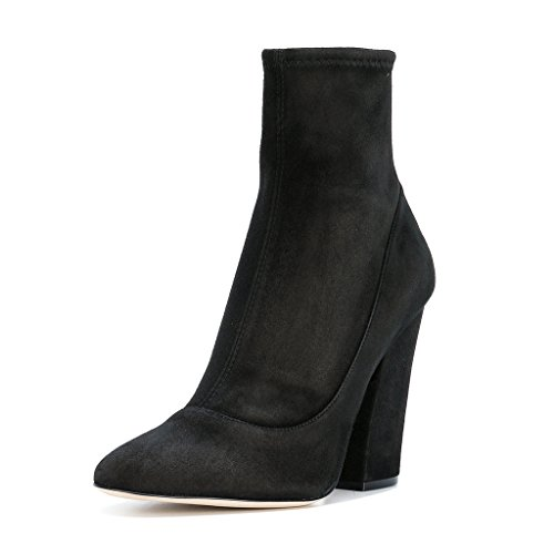 FSJ-Women-Elegant-Faux-Suede-Round-Toe-Ankle-Boots-Chunky-High-Heels-Back-Zipper-Dress-Shoes-Size-4-15-US-0