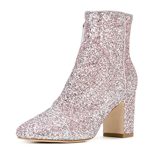 FSJ-Women-Round-Toe-Chunky-High-Heels-Glitter-Ankle-Boots-Side-Zipper-Shoes-Size-4-15-US-0