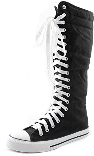 Mid-Calf-Knee-High-Woman-Boots-Tall-Classic-Canvas-Sky-High-Lace-up-Stylish-Punk-Flat-Sneaker-Boots-0