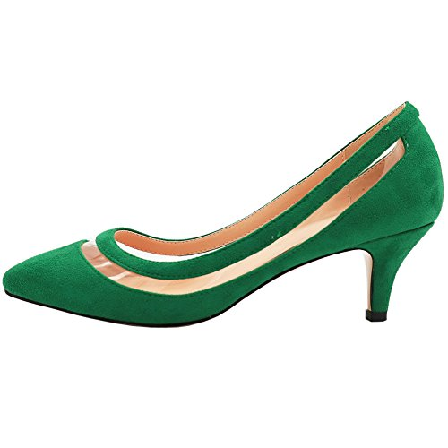 VOCOSI-AP-003-Casual-Womens-Transparent-Low-Heel-Shoes-Pointy-Toe-Daily-Dress-Pumps-S-Green-12-US-0