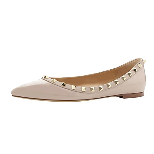 VOCOSI-Pointed-Toe-Flats-for-Women-Fashion-Rivets-Studs-Comfort-Ballet-Flats-Shoes-P-Nude-85-US-0