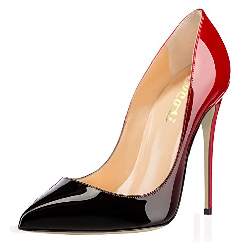 VOCOSI-Pointy-Toe-Pumps-for-WomenPatent-Gradient-Animal-Print-High-Heels-Usual-Dress-Shoes-Red-Black-75-US-0