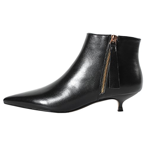 VOCOSI-Womens-Black-Leather-Kitten-Heels-Ankle-Boots-Pointed-Toe-Zipper-Autumn-Usual-Wear-Booties-Black-85-US-0