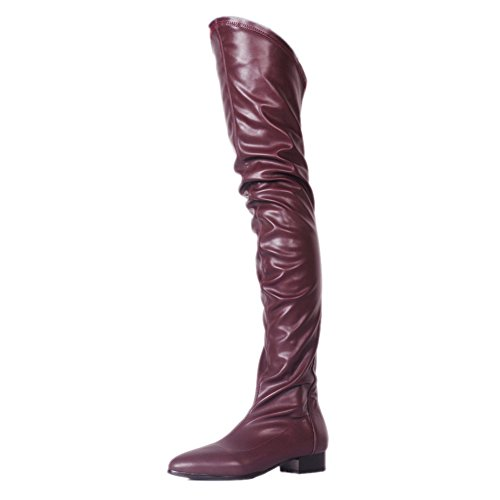VOCOSI-Womens-Comfy-Low-Heels-Slouchy-Wrinkle-Over-Knee-Thigh-High-Boots-Shoes-Burgundy-11-US-0