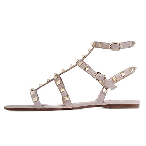 VOCOSI-Womens-Flats-SandalsRivets-Studs-Ankle-Strap-Strappy-Summer-Sandals-Shoes-Natural-75-US-0