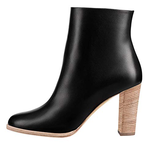 VOCOSI-Womens-Manmade-Leather-Black-Ankle-Booties-Block-Heels-Side-Zipper-Autumn-Daily-Wear-Boots-BlackWood-7-US-0