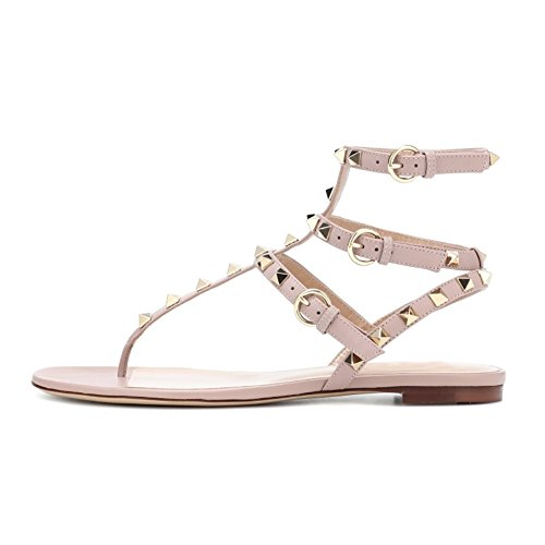 VOCOSI-Womens-Rivets-Studded-Flats-Shoes-T-Strap-Strappy-Flats-Thong-Sandals-Shoes-Natural-A-75-US-0