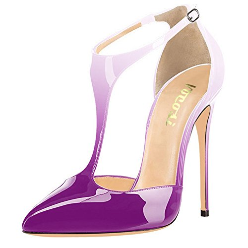 VOCOSI-Womens-T-Strap-Pointed-Toe-Solid-Ankle-Strap-Buckle-High-Heels-Patent-Leather-Pumps-Evening-Dress-Shoes-White-Purple-9-US-0