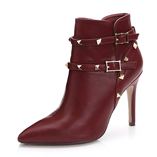VOCOSI-Womens-Thin-High-Heels-Pointed-Toe-Boots-Leather-Studded-Buckle-Straps-Ankle-Booties-Wine-37-CN-0