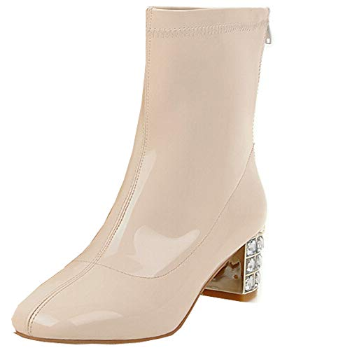 Creazrise-Womens-Block-High-Heels-Stretchy-Lycra-Ankle-Boots-Wide-Fit-Size-White8-0