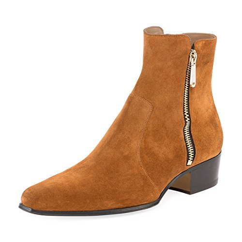 FSJ-Women-Basic-Closed-Toe-Ankle-Boots-Block-Low-Heels-Side-Zipper-Faux-Suede-Booties-Size-4-15-US-0