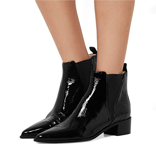 FSJ-Women-Chic-Closed-Toe-Waterproof-Chelsea-Ankle-Boots-Chunky-Low-Heels-Comfortable-Shoes-Size-4-15-US-0