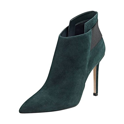 FSJ-Women-Elegant-Pointed-Toe-Ankle-Boots-High-Heels-Faux-Suede-Elastic-Slip-On-Shoes-Size-4-15-US-0