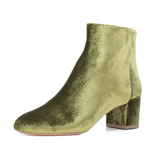FSJ-Women-Round-Toe-Velvet-Ankle-Boots-Block-Heel-Side-Zipper-Shoes-Comfort-Size-4-15-US-0
