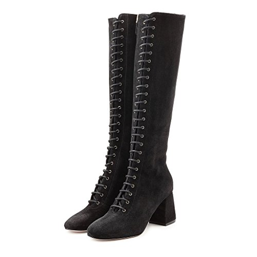 FSJ-Women-Trendy-Lace-up-Knee-High-Boots-Side-Zipper-Faux-Suede-Chunky-Block-Heels-Size-4-15-US-0