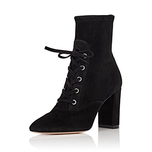 FSJ-Women-Versatile-Mid-Calf-Riding-Boots-Almond-Toe-Lace-up-Chunky-Heels-Shoes-Size-4-15-US-0