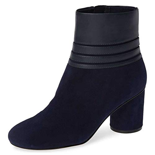 FSJ-Women-Versatile-Round-Toe-Ankle-Boots-Cone-Mid-Heels-Winter-Dress-Booties-Zipper-Shoes-Size-4-15-US-0