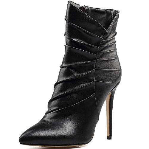 LYC-Women-Pointed-Boots-Black-High-Heels-Wrinkled-ankle-Boots-Big-Size-Boots-0