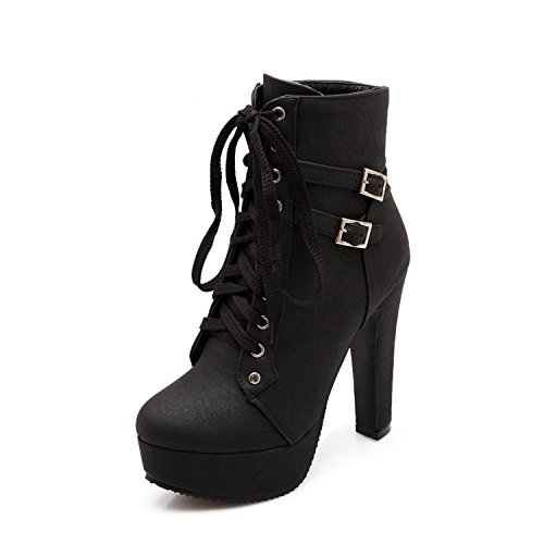 100FIXEO-Women-Sexy-Platform-High-Heels-Lace-Up-Buckle-Strap-Ankle-Boots-0