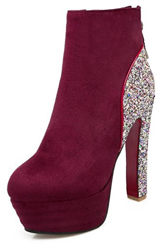 Summerwhisper-Womens-Sexy-Sequins-Faux-Suede-Round-Toe-Side-Zipper-Chunky-High-Heel-Platform-Ankle-Boots-Wine-Red-13-BM-US-0