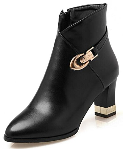 IDIFU-Womens-Stylish-Chunky-Mid-Heels-Side-Zipper-Pointed-Toe-Bikers-Ankle-Boots-0