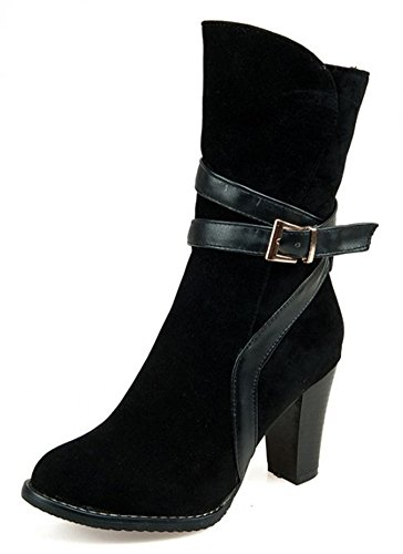 IDIFU-Womens-Vintage-Buckle-Side-Zip-Up-High-Block-Heels-Faux-Suede-Ankle-Boots-Booties-0